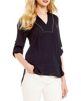 Stud Embellished Split V-neck Hi-low Shirttail Top