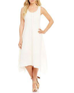Stud Embellished Linen Blend Handkerchief Hem A-line Dress