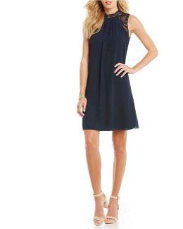 Mock Neck Lace Shoulder Georgette A-line Dress
