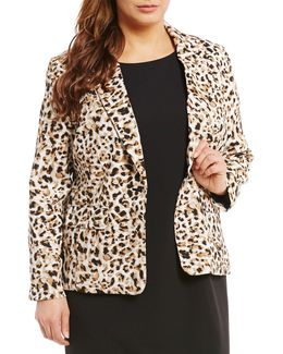 Plus Animal Print One Button Jacket