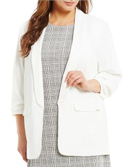 Plus Soft Suiting Shawl Collar Open Front Jacket