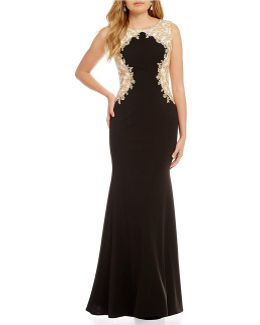 Gold Placement Lace Applique Gown