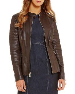 Peplum Genuine Leather Jacket