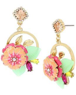 Tropical Flower Cluster Drop Earrings