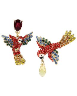 Tropical Pavé Parrot Mismatched Drop Earrings