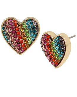 Rainbow Pavé Heart Stud Earrings