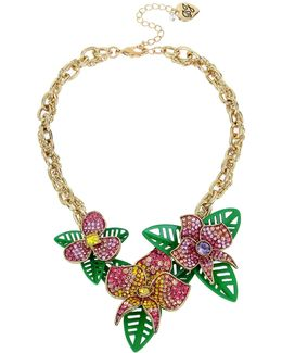Pavé Tropical Flower Frontal Necklace