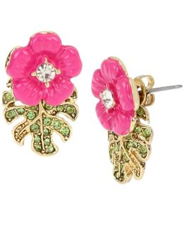 Tropical Flowers & Leaves Front/back Earrings