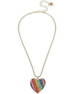 Pavé Rainbow Heart Love Me Reversible Pendant Necklace