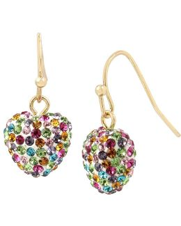 Pavé Rainbow Heart Drop Earrings