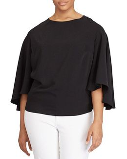 Plus Crepe Bell-sleeve Cropped Top