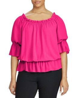 Plus Georgette Off-the-shoulder Top