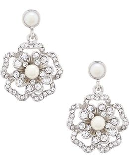 Grand Entrance Faux-pearl Flower Double-drop Earrings