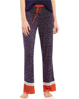Lace-trimmed Ditsy Floral Border-print Sleep Pants