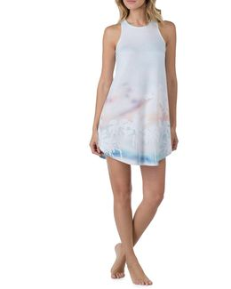 Beach-print French Terry Lounge Tank Dress