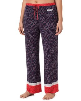 Kenise Plus Lace-trimmed Ditsy Floral Border-print Sleep Pants