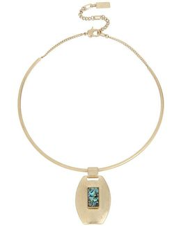 Abalone Geometric Pendant Wire Collar Necklace