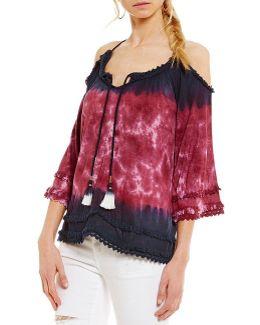 Danae Cold-shoulder Flutter-sleeve Tie-dye Top