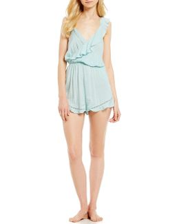 One Of These Days Ruffled Open-back Lounge Romper