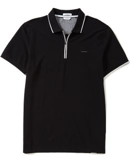 Solid Refined Ottoman Short-sleeve Polo Shirt