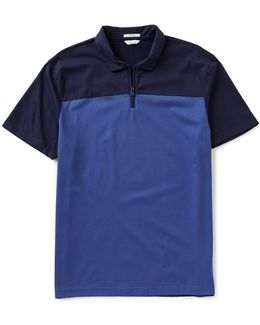 Color Blocked Quarter-zip Short-sleeve Polo Shirt