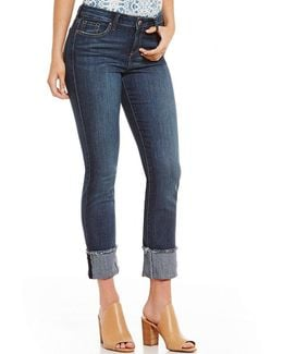 Arrow Frayed Hem Cuff Straight Cropped Stretch Denim Jeans