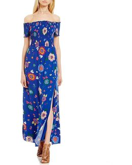 Fredrica Off-the-shoulder Smocked Floral-printed Maxi Dress