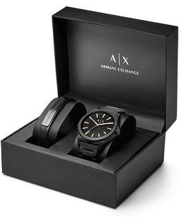 Ax Analog Bracelet Watch & Leather Strap Set