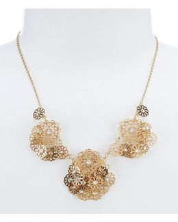 Golden Age Shaky Openwork Flower Collar Necklace
