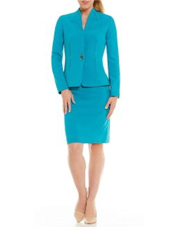 Petite Stand Collar Crepe Skirt Suit