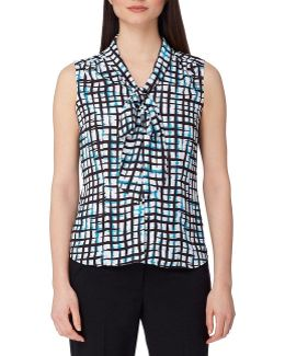 Abstract-print Tie-neck Blouse