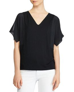 Crepe-sleeve Jersey Top