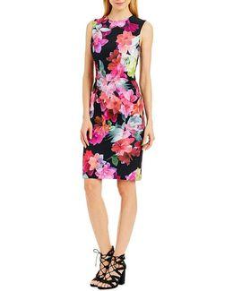 Floral Seamed Sheath Dress