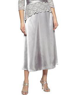 Plus Charmeuse Tea-length Skirt