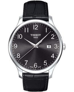 Tradition Analog & Date Leather-strap Watch