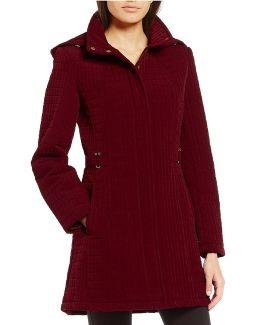 Petite Quilted Zip Front Detachable Hood Jacket