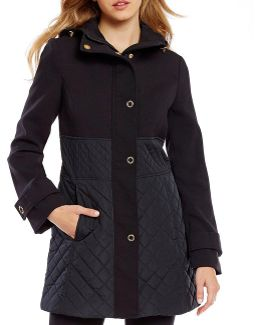 Snap Front Mix Media Quilted Jacket