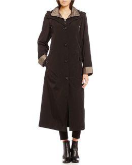 Long Detach Hood Rain Coat