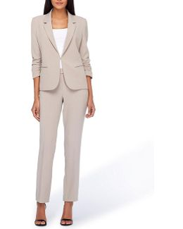 Scrunched-sleeve Pant Suit