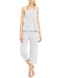Lace-trimmed Ditsy Jersey Capri Pajamas