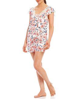 Pink Label Lace-trimmed Floral Flutter-sleeve Pajamas