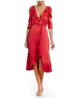 Maudie Cold Shoulder Ruffle Faux Wrap Midi Dress