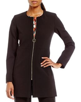 Luxe Stretch Suiting Zip Front Long Jacket