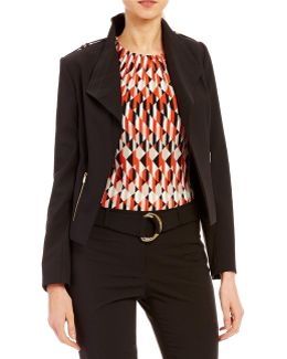 Petites Luxe Stretch Suiting Zip Pocket Wing Collar Jacket