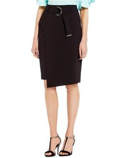 Luxe Stretch Suiting Belted Faux Wrap A-line Skirt