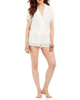 Laurel Jacquard & Scalloped Lace Pajamas