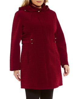 Plus Quilted Zip Front Detachable Hood Jacket