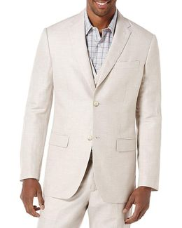 Big & Tall Linen Herringbone Blazer