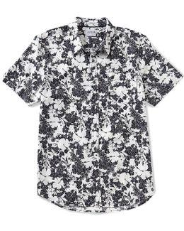 Short-sleeve Floral Slub Print Shirt