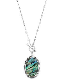 Reversible Jade & Abalone Pendant Necklace